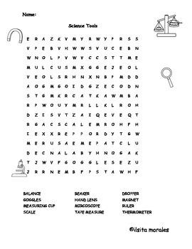 Science Tools Word Search Spanish/English Instrumentos Cientificos