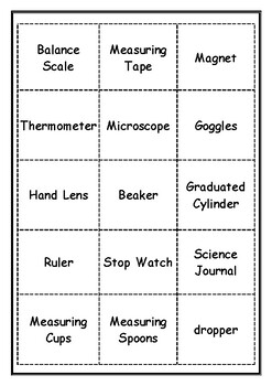 Science Tools Word Sort with Pictures