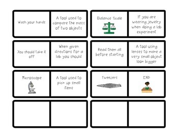 Science Tools and Lab Safety Vocabulary Dominoes
