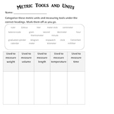 Science: Tools and measurements used during investigations