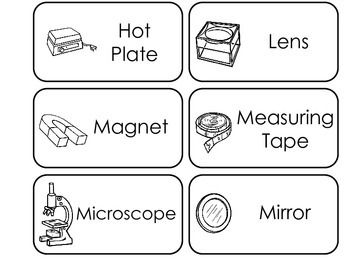 Science Tools themed printable Picture Word Flash Cards.  Preschool flashcards.