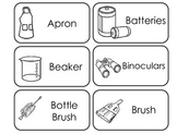 Science Tools themed printable Picture Word Flash Cards.