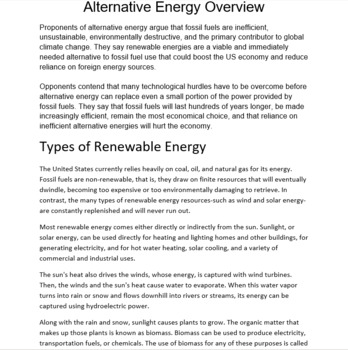 Commonly known alternative energy sources