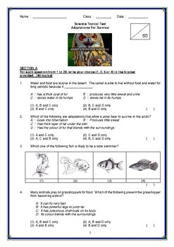 Science Topical Test.Adaptations for Survival