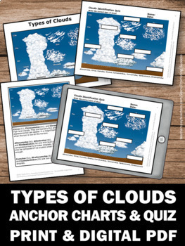 Types of Clouds Activities, Science Weather Unit Study Guide and Quiz