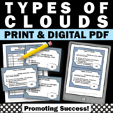 Clouds Types Task Cards for Weather Unit, Spring or Summer School Activities