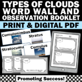 Types of Clouds Word Wall, Cloud Observation Journal for Weather Unit