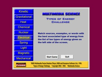 Science - Types of Energy Challenge - PC & MAC Flash Version
