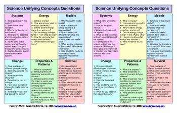 Science Unifying Concepts Questions