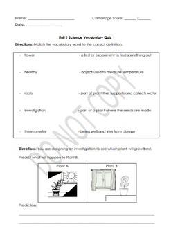 Science Unit 1 Review Bundle- Looking after plants  (Cambridge Stage 3/Grade 2)