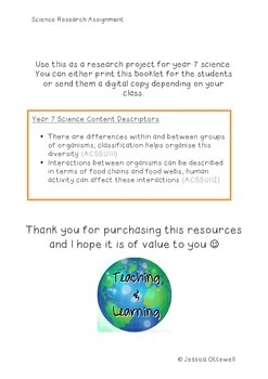 Science Unit Booklet