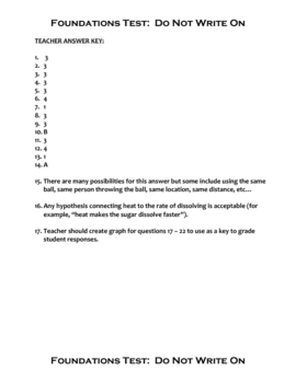 Middle School Science Unit Exam - Basic Science Skills