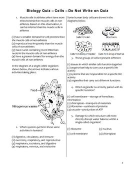 High School Biology Unit Exam - Cells