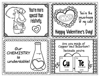 Science Valentines to Print & Color