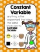 Science Variables Constant Independent & Dependent Variable Posters Lab Activity