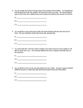 Science Variables Worksheet (Independent, dependent, and controls)