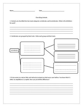 Vertebrates and invertebrates assessment/worksheet