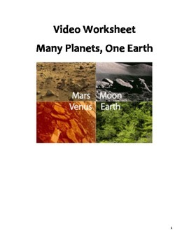 Free Science Video Worksheet - Many Planets, One Earth Companion