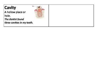 Science Vocab Cards - Dental Health