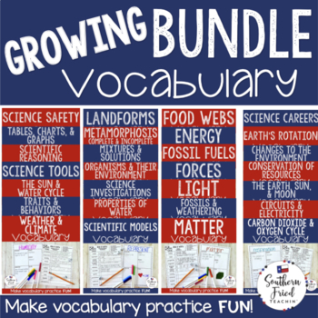 Science Fun Interactive Vocabulary Dice Activities - GROWING BUNDLE