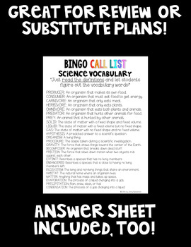 Science Vocabulary BINGO! 32 Different Student Cards!