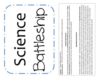 Science Vocabulary Battleship
