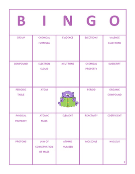 Science Vocabulary Bingo 8th Grade Reporting Category 1