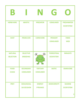 Science Vocabulary Bingo 8th Grade Reporting Category 4