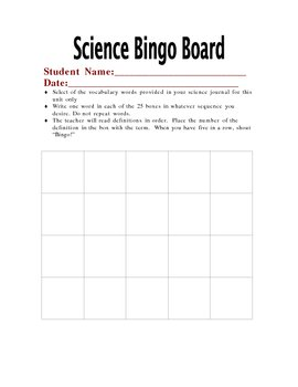 Science Vocabulary Bingo Card