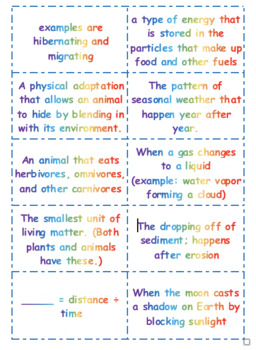 Double-Sided Science Vocabulary Cards (4th grade TN vocab)