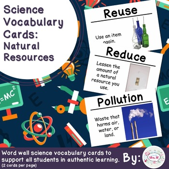 Science Vocabulary Cards: Natural Resources (Large)