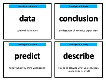 Science Vocabulary Cards for 1st grade