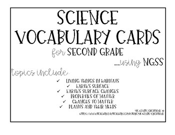 Science Vocabulary Cards for 2nd Grade - NGSS
