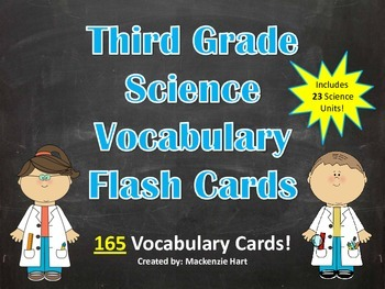 Science Vocabulary Cards for 3rd grade