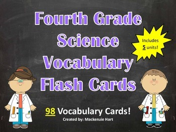 Science Vocabulary Cards for 4th grade