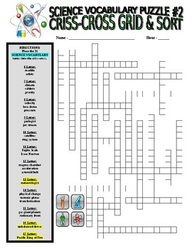Science Vocabulary Combo Puzzles #2 & Sort (Wordsearch and Criss-Cross Grid)