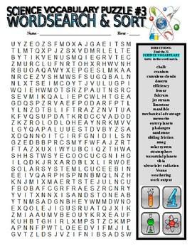 Science Vocabulary Combo Puzzles #3 & Sort (Wordsearch & Criss-Cross Grid)