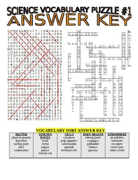 Science Vocabulary Combo Puzzles & Sort #1 (Wordsearch and Criss-Cross Grid)