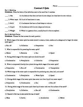 Science Vocabulary Contract 3