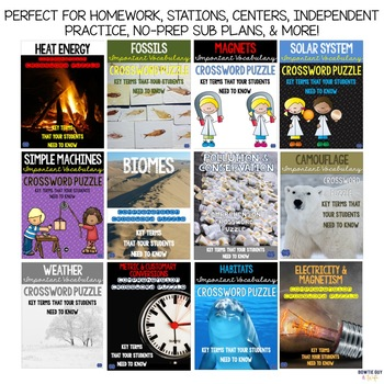 Science Vocabulary Crossword Puzzles Mega Bundle (Includes 55!)