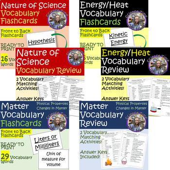 Year Long Science Vocabulary Flashcards and Matching Assessments
