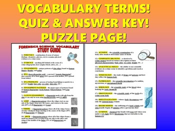Science Vocabulary : Forensics (Quiz & Study Guide and Puzzle Page)