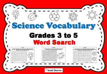 Science Vocabulary Grade First Word Search