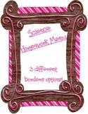 Science Vocabulary Homework Menu