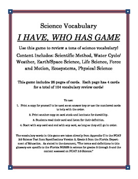 Science Vocabulary - I Have, Who Has Game (104 Cards)