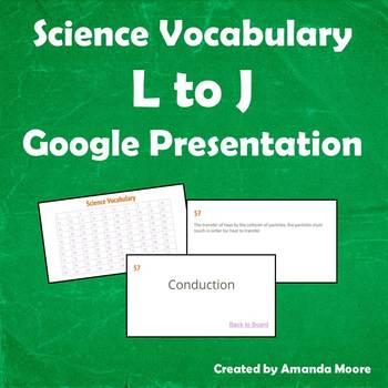 Science Vocabulary L to J Digital Grade 5