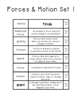 Science Vocabulary Ladders Freebie {Force and Motion}