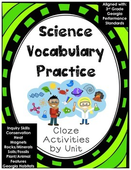 Science Vocabulary Practice 3rd Grade Georgia Cloze Activities