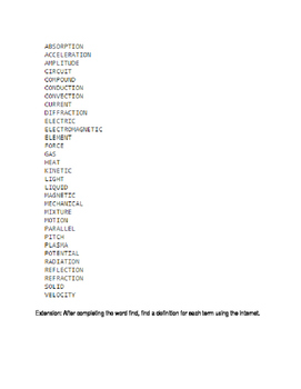 Science Vocabulary Word Find - Preview for 8th Grade