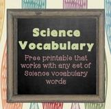 Science Vocabulary Printable {FREE}